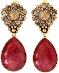 Stephen Dweck Coral Dangle Clip On Earrings - Red