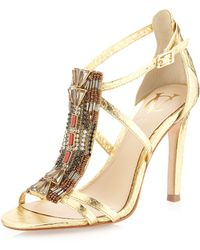 Vince Camuto Signature Roselle Beaded Sandal Pale Gold - Metallic