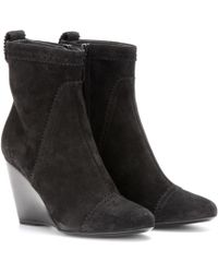 Balenciaga Suede Brogue Wedge Ankle Boots - Lyst