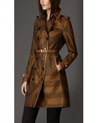 Burberry Long Check Cotton Trench Coat - Lyst