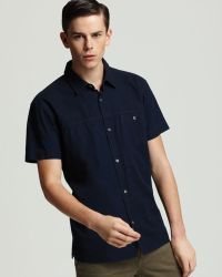 Marc By Marc Jacobs Chambray Short Sleeve Sport Shirt Slim Fit - Blue