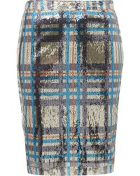 Topshop Sequin Check Pencil Skirt - Lyst