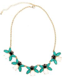 AKIRA Jewel Bee Necklace in Alabaster - Green