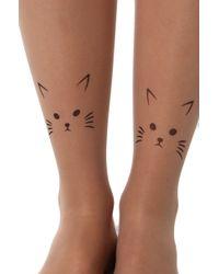 AKIRA Cat Print Tights - Natural