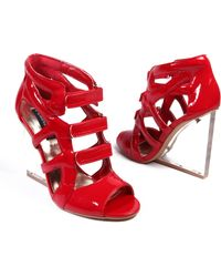 AKIRA Callie Patent Sandal - Red