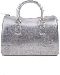 AKIRA Isabella Glitzy Jelly Satchel in Silver Glitter - Metallic