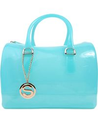 AKIRA Isabella Glitzy Jelly Satchel in Turquoise - Blue