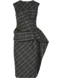 Lanvin Draped Plaid Wool Blend Dress - Lyst