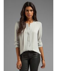 Theory Edera Silk Blouse in Gray - Lyst