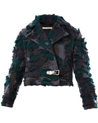 Christopher Kane Wool Camo Biker Jacket - Lyst