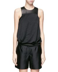 Helmut Lang Leather Panel Tank Top - Lyst