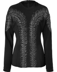 L'Wren Scott Black Silk Top With Feather Sequin Embroidery black - Lyst
