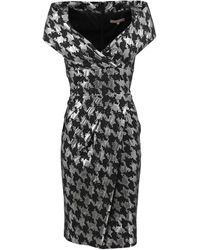 Michael Kors Metallic Dogtooth Collar Dress - Lyst