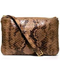 Michael Kors Michael Bedford Gusset Snakeprint Crossbody Bag - Lyst
