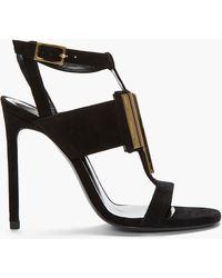 Saint Laurent Black and Gold Suede Janis T_strap Sandal - Lyst
