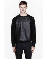 Saint Laurent Black Wool Leather_paneled Sweater - Lyst