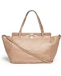 Valentino 'Rockstud' Medium Leather Tote - Lyst