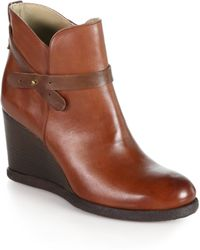 Alberto Fermani - Cosima Leather Wedge Ankle Boots - Lyst