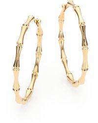 Gucci 18k Gold Bamboo Hoop Earrings - Lyst