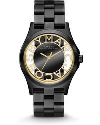 Marc By Marc Jacobs Black Ip Stainless Steel Cutout Dial Watch - Lyst