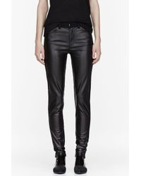 McQ by Alexander McQueen Black Denim and Leather Stretch Jeans - Lyst