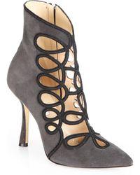 Oscar de la Renta Empire Suede Cutout Ankle Boots - Gray