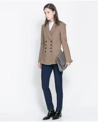 Zara Short Double Breasted Overcoat - Lyst