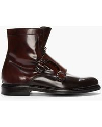 Carven Mahogany Two_tone Monk Strap Boots - Lyst