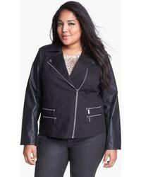 MICHAEL Michael Kors Knit Faux Leather Moto Jacket - Lyst