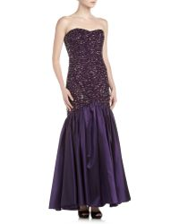 Theia Strapless Beaded Mermaid Gown  - Lyst