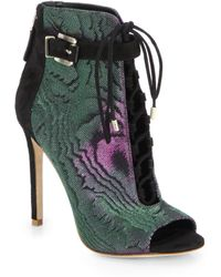 B Brian Atwood Lindford Iridescent Canvas Suede Peeptoe Ankle Boots - Lyst