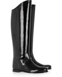 Bottega Veneta Glossed Leather Riding Boots - Black