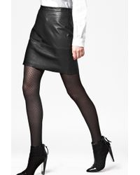 French Connection Jet Leather Skirt - Lyst
