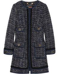 Tory Burch Annabelle Tweed Coat - Blue
