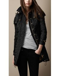Burberry Diamond Quilted Coat black - Lyst