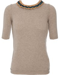 Burberry Prorsum Cashmere Sweater with Embellished Neckline - Lyst
