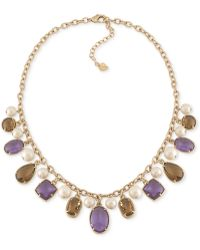 Carolee 14k Goldplated Purple and Green Multistone and Glass Pearl Frontal Necklace - Lyst