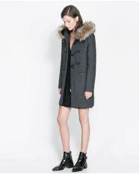 Zara Hooded Fur Coat - Lyst