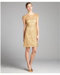 Kay Unger Gold Sequined Lace Party Dress - Lyst