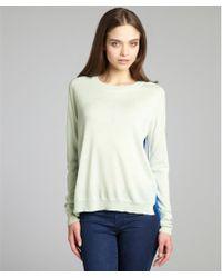 Mason by Michelle Mason Mint Cashmere and Blue Silk Back Contrast Raglan Sweater - Lyst