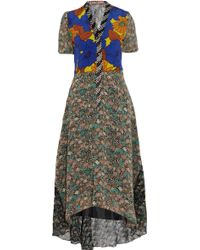 Duro Olowu Printed Silk-georgette and Crepe De Chine Dress - Brown