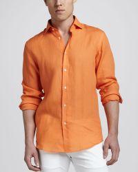 Ralph Lauren Black Label - Linen Sport Shirt Lifeboat Orange - Lyst
