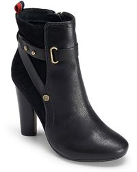 Tommy Hilfiger Two Toned Leather Strap Bootie - Lyst