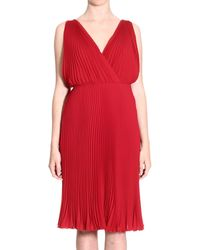 Valentino Dress Sleeveless Georgette Pleated Crossed red - Lyst