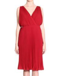 Valentino Dress Sleeveless Georgette Pleated Crossed - Lyst