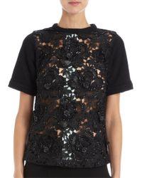 Betina - Lace Front Short Sleeve Sweatshirt - Lyst
