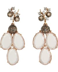 Federica Rettore - Diamond Rose Quartz Triple Drop Earrings - Lyst
