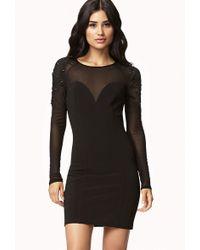 Forever 21 Paneled Embellished Mesh Dress - Black