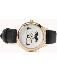 Forever 21 Mustache Faux Leather Watch - Black