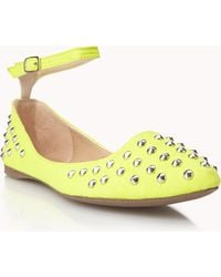 Forever 21 Studded Ballet Flats - Yellow